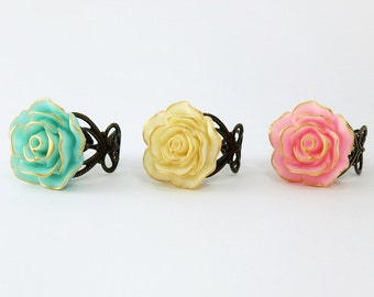 Gold Edge Rose Flower Ring, Vintage Bronze Adjustable Ring, Pick from 5 colors