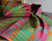 Retro Blocks Brights Handwoven Tea or Kitchen Towel