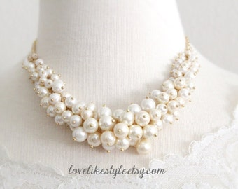 Ivory  Pearl Necklace, Pearl Cluster Necklace, Bridal Pearl Necklace, Bridesmaid Pearl Necklace