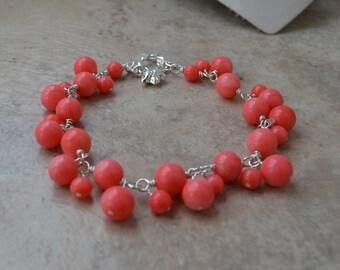 Cha Cha Bracelet Pink Coral Sterling Silver Cluster Charm Bracelet