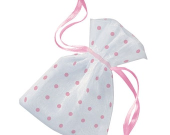 Wedding Favors  Organza Bags  6  Pink Sheer Bridal Baby Shower Party Favor Easy