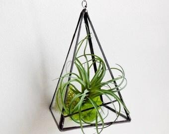 Pyramid Terrarium. Terrarium. Stained Glass Geometric Plant Holder. Glass Terrarium. Plant holder With chain. Made To Order