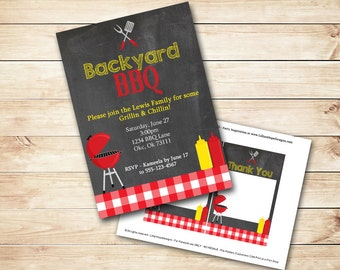 Barbeque Invitation - BBQ Invitation - Chalboard Invitation - Backyard Party - PRINTABLE Invitation and Thank You Card - BBQ Party