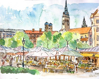 Munich Bavaria Viktualienmarkt Market Scene Watercolor Aquarell