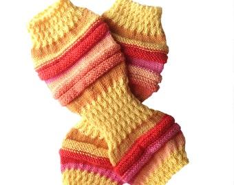Yoga Hand Knit Socks, Pilates Socks, PiYo Socks, Knit Dance Socks, Hipster Socks Pedicure Socks, Gift, Orange Red Socks, Boho, MADE TO ORDER