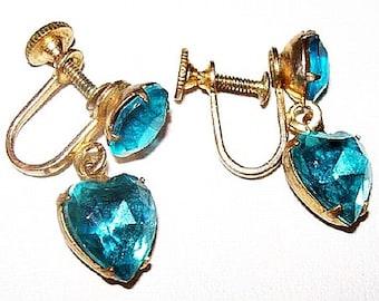 "Dangle Earrings Aqua Blue Heart Shaped Rhinestones Gold Metal Screw Backs 1"" Vintage"