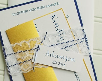 Navy and Gold Wedding Invitations. Lace Wedding Invitations, Nautical Wedding Invites. Elegant Modern Wedding Invitations.  Gold and Navy