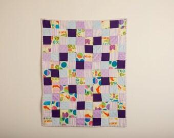 Little Girl Flannel Quilt, OOAK, Handmade Blanket , Minky Mini Quilt,  Purple Minky Backing, 20 x 26, Doll Quilt, Cuddle Blanket