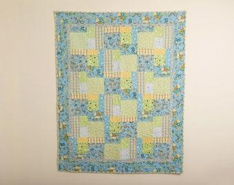 Baby Boy Quilt, Boy Blanket, Teddy Bear Quilt, Flannel Quilt, Flannel Blanket, Handmade Quilt, Handmade Baby Gift, Nursery Quilt,