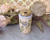 Charming Victorian Era Hand Painted Porcelain Mustard Jar with Hand Painted Flowers