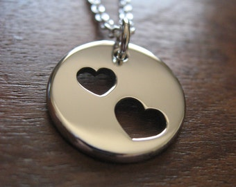 Silver Hearts Charm Necklace Pendant