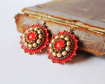 Red Gold Beadwork Earrings Bead embroidery earrings Red dangle Earrings Gold Earrings Bead embroidered jewelry Gift for her MADE TO ORDER