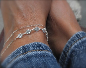 Layered  anklet with cz charms - layered ankle bracelet - solid 925 sterling silver - sterling  ankle bracelet - zirconia anklet -