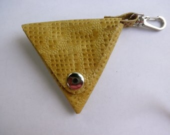 Pattern yellow leather coin purse - triangle coin purse - leather triangle purse - yellow leather  - genuine leather coin purse -