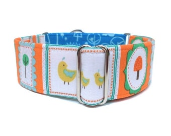 SALE Happy Forest Dog Collar - 1 inch or 1.5 inch Woodland Martingale Collar or Buckle Dog Collar