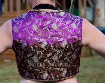 The perfect turkish vest-purple, silver and gold floral brocade