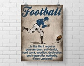 Sport Art Print - Kids Football Room Decor - Vince Lombardi Quote - football sport decor print - illustration