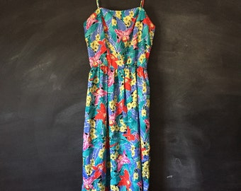 Vintage Tropical Spaghetti Strap Sundress