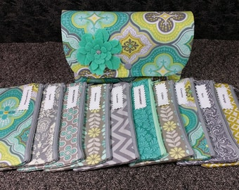 Cash Envelope Wallet JUMBO size, 8 to 15 Cash Envelopes & Pouch -Aqua Morracan- (It can be used with the Dave Ramsey system)
