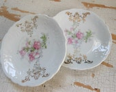 Pink floral butter pats, pair of butter pats