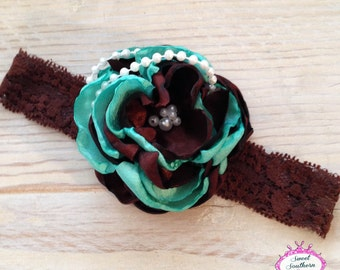 Chocolate Mint Couture Headband - Satin Flower Headband - Silk Flower Headband - Layered Flower Headband - Singed Flower Headband