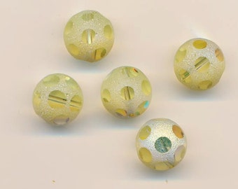 Four ultra-rare vintage Swarovski polka dot crystals - art 44 - jonquil AB - 12 mm