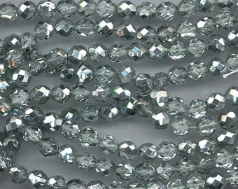 Two 8-inch strands (about 50 beads) 8 mm crystal/metallic very pale greenish silver firepolished Czech beads - lot 891
