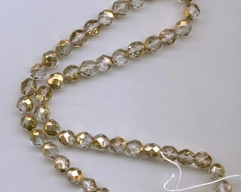 Two 8-inch strands (about 50 beads) 8 mm crystal/metallic gold firepolished Czech beads - lot 908