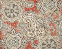 Red, Grey Brown and Blue Paisley Pillow Covers/ Custom Designer I/O Fabric