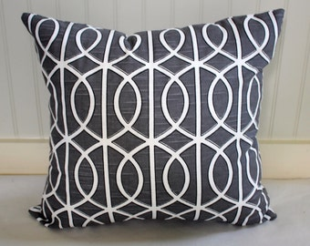 IN STOCK / Dwell Grey Geometric Pillow Cover / 18 X 18 ; 14 x 18 / Designer Pillow Cover in Grey Black and White