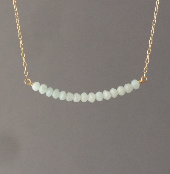 Amazonite Beaded Necklace available in gold, rose gold, or silver