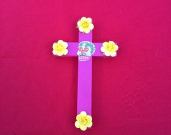 Pink fabric sugarskull cross