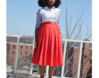 Bright Red Midi Skirt With Pockets