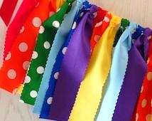 Rainbow Polka Dot Fabric Tie Garland - Rainbow Garland - Rainbow Bunting + 10% off Party Supplies Coupon