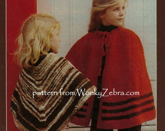 Vintage Knit Poncho and Cape Patterns PDF B073 from WonkyZebra