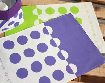 2 Placemats Geometric pattern -Purple or Lime Green- Cotton tablemats hand printed with a geometric design in Lime Green or Violet Set x 2