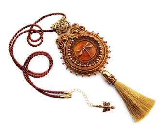 Handmade Soutache necklace pendant simple, elegant and unusual - Caramel Dragonfly