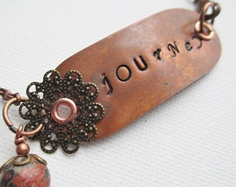 Journey Stamped Bracelet Beaded Jewelry Boho Rustic Copper Mixed Metal Inspirational