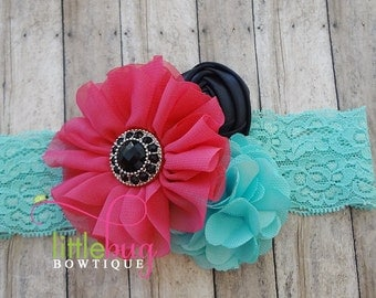 Spring Aqua Lace Headband & Shocking Hot Pink Black Aqua Chiffon Flowers Photography Prop for Newborns, Teens, Girls, Toddlers,