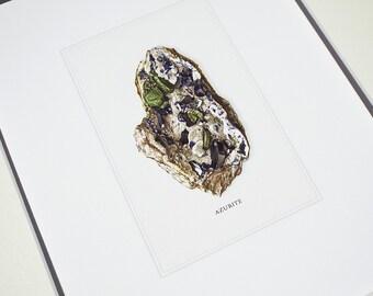 Azurite Mineral Specimen Archival Print on Watercolor Paper