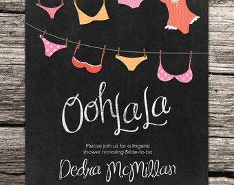 Ooh-la-la Lingerie Shower Invitation on Chalkboard Background - Printable File Only