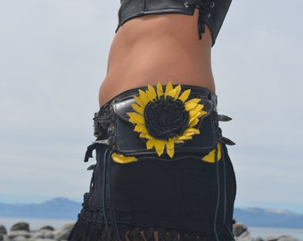 Leather sunflower pocket belt/ Festy belt/ utility belt