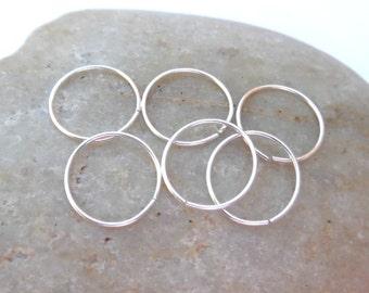 Six Cartilage Hoop Earrings, Argentium Silver, Ear Hugging Earrings, Sterling Silver 24 Gauge Helix Piercing Hoops, Recycled Silver Hoops