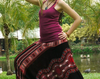 Thai Harem Pants in Cotton, Tribal Design Red & Black Feather detail-- Aladdin Pants -- Women's Harem Pants -- Drop Crotch Style