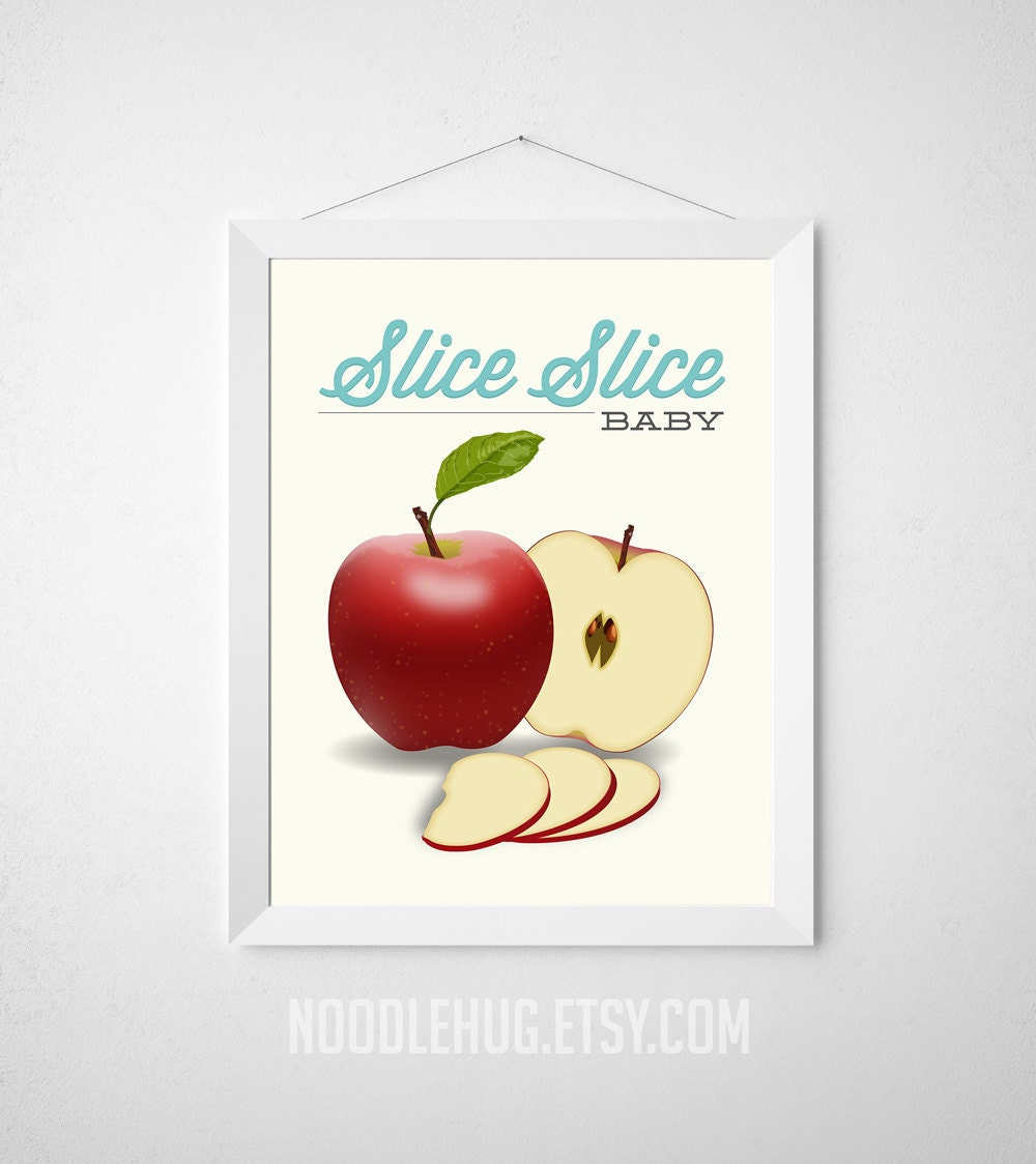 Red Apple Kitchen Decor Red Apple Poster Etsy