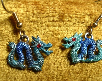 Hand Painted Dragon Earrings with Red  Crystal Eyes
