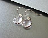 Gorgeous Pale Rose Quartz Gemstone Earrings Set in Sterling Silver Bezels - Simple - Elegant - Contemporary