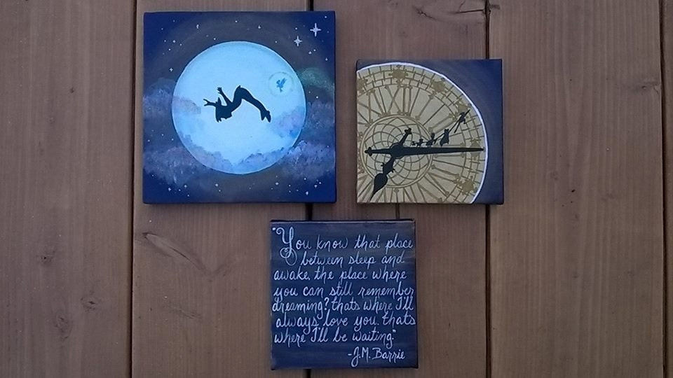 Peter Pan Set Of 3 Canvas Paintings You Know The Place
