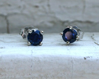 RESERVED - Lovely Sapphire Stud Earring in 14K White Gold - 0.80ct.