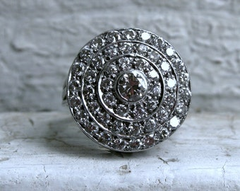 Retro Vintage 14K White Gold/ Platinum Diamond Cluster Engagement Ring - 1.80ct.